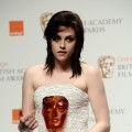 Kristen Stewart holds her award at the 2010 Orange British Academy Film Awards in London, England, on February 21, 2010