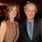 Kathryn Bigelow and James Cameron share a moment at the 2010 Producers Guild Awards on January 24, 2010