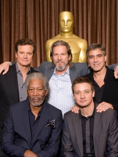 George Clooney, Jeff Bridges, Colin Firth, Jeremy Renner and Morgan Freeman at the Oscars Nominees Luncheon in Beverly Hills on February 15, 2010