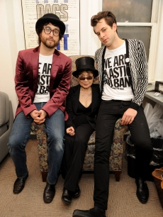 Sean Lennon, Yoko Ono and Mark Ronson pose backstage at the Brooklyn Academy of Music on February 16, 2010