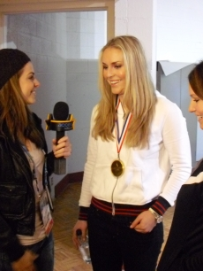 Access Hollywood's Maria Menounos chats with Lindsey Vonn and Julia Mancuso at the 2010 Winter Olympics held in Vancouver, Canada, February 2010
