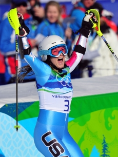Julia Mancuso of the USA celebrates winning a silver medal for the Alpine Skiing Ladies Super Combined Slalom at the 2010 Winter Olympics at Whistler Creekside in Whistler, Canada on February 18, 2010