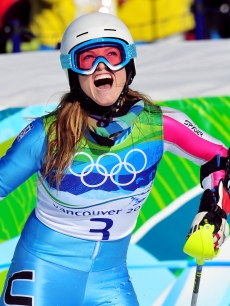 Julia Mancuso celebrates after skiing in the Alpine Skiing Ladies Super Combined Slalom Day 7 at the Vancouver Winter Olympics on February 18, 2010