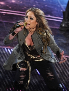 Jennifer Lopez performs at the Ariston Theatre in Sanremo, Italy during the 60th Italian Music Festival on February 19, 2010