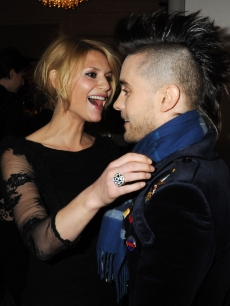 Former 'My So Called Life' co-stars Jared Leto and Claire Danes share a moment at the ELLE Style Awards, London, February 22, 2010