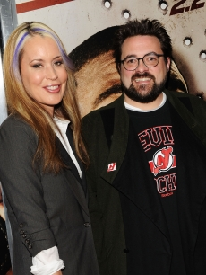 Director Kevin Smith and wife Jennifer Schwalbach attend the premiere of 'Cop Out' at AMC Loews Lincoln Square 13 in New York City on February 22, 2010