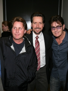 Martin Sheen poses with Emilio Estevez, Ramon Estevez, Charlie Sheen and Renee Estevez backstage after the opening night performance of &#8216;The Subject Was Roses&#8217; at the Center Theatre Group&#8217;s Mark Taper Forum, LA, February 21, 2010