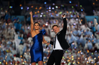 Nelly Furtado and Bryan Adams kick things off at the 2010 Vancouver Winter Olympics Opening Ceremony in Vancouver, Canada on February 12, 2010