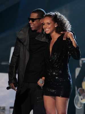 Jay-Z and Alicia Keys perform at the Brit Awards 2010 at Earls Court, London, February 16, 2010