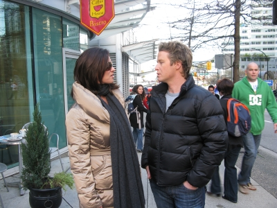 Access' Billy Bush with two-time figure skating gold medalist Katarina Witt in downtown Vancouver during the 2010 Winter Olympics