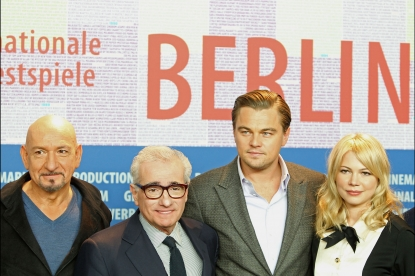 Sir Ben Kingsley, director Martin Scorsese, Leonardo DiCaprio and Michelle Williams pose at the 'Shutter Island' press conference at the Berlin Film Festival in Berlin, Germany on February 13, 2010