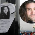 A missing persons poster for actor Andrew Koenig is seen on a light pole in front of the Olympic Cauldron on February 24, 2010 in Vancouver, Canada (Inset: Andrew Koenig)