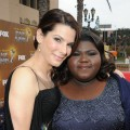 Oustanding Actress nominees Sandra Bullock and Gabourey Sidibe pose on the NAACP Image Awards red carpet, Los Angeles, February 26, 2010