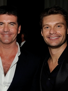 Simon Cowell and Ryan Seacrest attend the 17th Annual Elton John AIDS Foundation Oscar party held at the Pacific Design Center on February 22, 2009 in West Hollywood, California