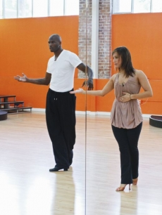 Another dance move from Chad Ochocinco and Cheryl Burke during their &#8216;Dancing with the Stars&#8217; Season 10 rehearsals