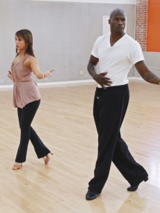 Chad Ochocinco shows off his moves with partner Cheryl Burke during their &#8216;Dancing with the Stars&#8217; Season 10 rehearsals