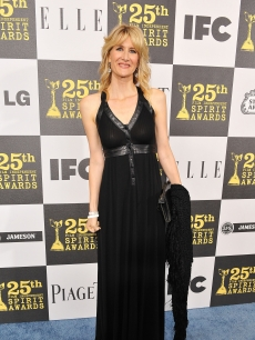 Laura Dern keeps it simple and chic in black backstage at the On3 Gift Lounge at the 25th annual Film Independent Spirit Awards in LA on March 5, 2010