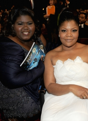 Gabourey Sidibe and Mo'Nique enjoy the 41st NAACP Image Awards held at The Shrine Auditorium, Los Angeles, February 26, 2010
