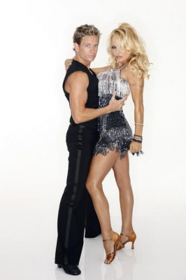 Damian Whitewood and Pamela Anderson pose for their 'Dancing' Season 10 cast shot