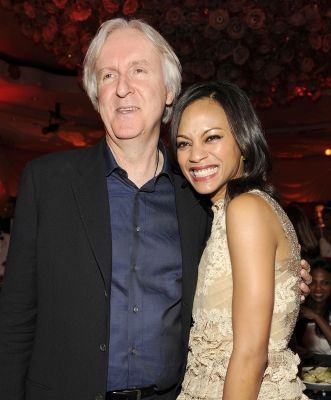 'Avatar' alumni James Cameron and Zoe Saldana cuddle up at the third annual Essence Black Women in Hollywood Luncheon at the Beverly Hills Hotel on March 4, 2010