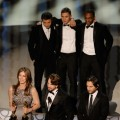 Director Kathryn Bigelow, screenwriter Mark Boal and producer Greg Shapiro, and (rear L-R) actors Jeremy Renner, Brian Geraghty and Anthony Mackie accept Best Picture award for &#8216;The Hurt Locker&#8217; onstage during the 82nd Annual Academy Awards