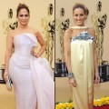 Jennifer Lopez and Sarah Jessica Parker pose at the 2010 Academy Awards