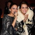 Nicole Richie and Miley Cyrus attend the 18th Annual Elton John AIDS Foundation Academy Award Party at Pacific Design Center in West Hollywood, California on March 7, 2010