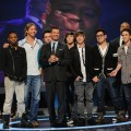 Ryan Seacrest poses with the Top 8 male contestants during Week 3 of 'American Idol' Season 9 in Los Angeles on March 10, 2010