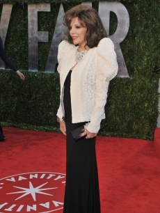 Joan Collins arrives at the 2010 Vanity Fair Oscar Party at Sunset Tower, LA, March 7, 2010