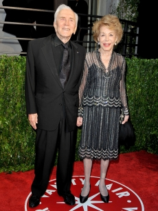 Kirk Douglas and wife Anne Buydens arrive at the 2010 Vanity Fair Oscar Party, LA, March 7, 2010