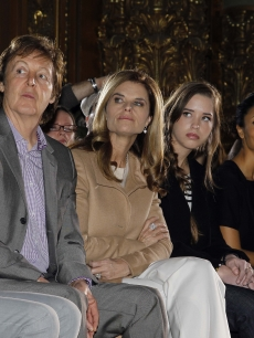 Nancy Shevell, Paul McCartney, Maria Shriver, Christina Schwarzenegger, Thandie Newton and Laura Bailey attend the Stella McCartney Ready to Wear show, Paris, March, 8, 2010