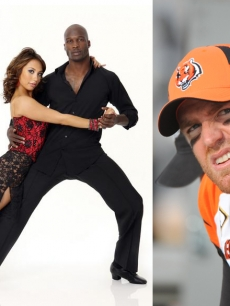 Cheryl Burke, Chad Ochocinco and Carson Palmer (right)