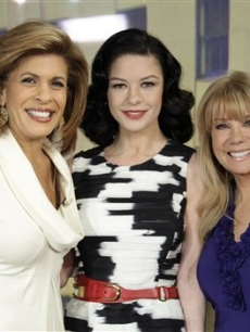 Catherine Zeta-Jones with co-hosts Hoda Kotb and Kathie Lee Gifford on NBC's the 'Today' show to celebrate Elizabeth Arden's 100 anniversary, in New York, on March 10, 2010