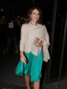 The glamorous Elizabeth Hurley on her way to the Late Late Show Studios  in Dublin, Ireland on March 12, 2010