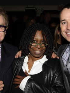 Elton John, Whoopi Goldberg and David Furnish pose backstage at the play 'Next Fall' on Broadway at The Helen Hayes Theater on March 14, 2010 in New York City