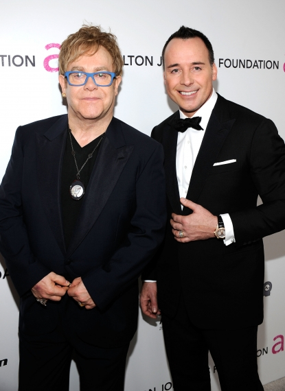 Elton John and David Furnish hit the red carpet at the 18th annual Elton John AIDS Foundation Academy Awards party, LA, March, 7, 2010