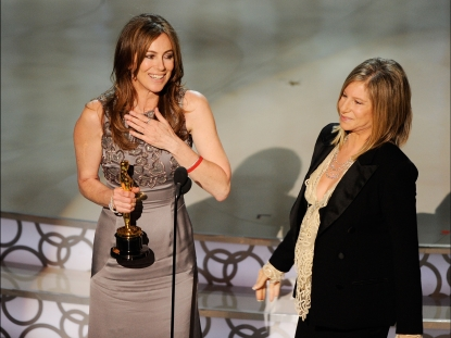 Kathryn Bigelow accepts her Best Director award from Barbra Streisand at the 82nd Annual Academy Awards in Hollywood on March 7, 2010