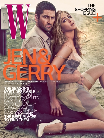 Gerard Butler and Jennifer Aniston on the cover of W Magazine's April 2010 issue