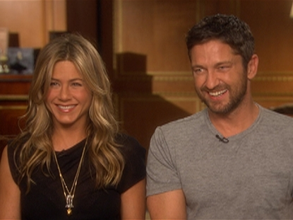 Jennifer Aniston and Gerard Butler talk to Access Hollywood's Shaun Robinson at junket for 'The Bounty Hunter' on March 13, 2010