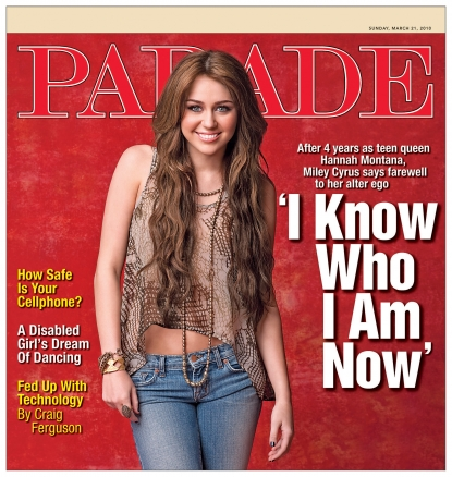 Miley Cyrus on the cover of Parade magazine, March 21, 2010