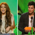 Miley Cyrus and Taylor Lautner at Nickelodeon's 23rd Annual Kids' Choice Awards at Pauley Pavilion at UCLA on March 27, 2010
