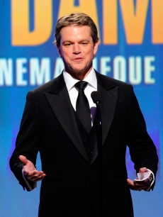Matt Damon accepts his honor at the 24th Annual American Cinematheque, honoring himself, at the Beverly Hilton in Beverly Hills, Calif., on March 27, 2010