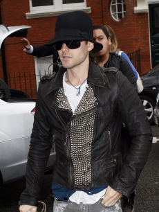 Jared Leto is seen arriving at Radio One's Live Lounge in London, England on March 29, 2010