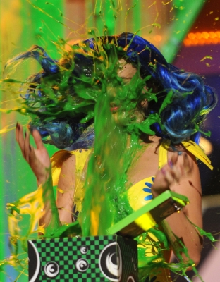 Katy Perry gets slimed at Nickelodeon's 23rd Annual Kids' Choice Awards held at UCLA's Pauley Pavilion in Los Angeles, California on March 27, 2010