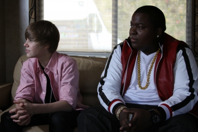 Justin Bieber and Sean Kingston during an interview with Access Hollywood on the set of their new music video, 'Eenie Meenie,' in Los Angeles on March 29, 2010