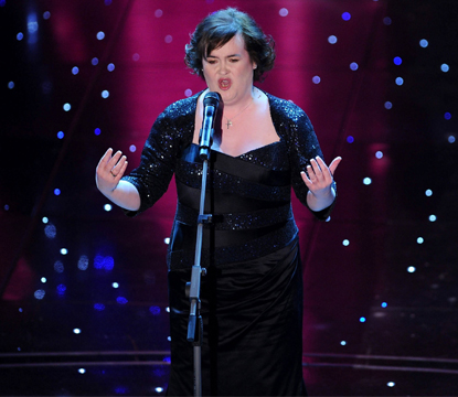 Susan Boyle sings at the 60th Sanremo Song Festival at the Ariston Theatre in San Remo, Italy on February 16, 2010 