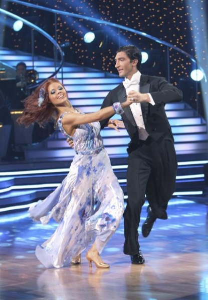 Anna Trebunskaya and Olympic figure skater Evan Lysacek perform a Viennese Waltz to Edwin McCain's 'I'll Be' on the Season 10 premiere of 'Dancing with the Stars' on March 22, 2010