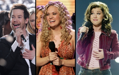 David Cook, Carrie Underwood and Kelly Clarkson on stage during their crowning 'Idol' moments
