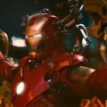The Iron Man armor in a scene from &#8216;Iron Man 2&#8217;