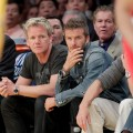 Gordon Ramsay and pal David Beckham attend a game between the Portland Trail Blazers and the Los Angeles Lakers at Staples Center, LA, April 11, 2010